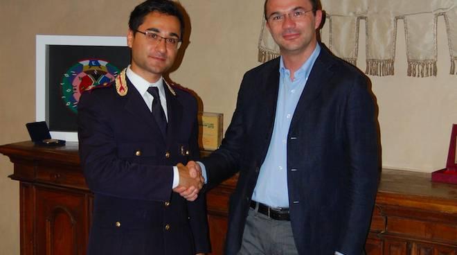 Il comandante Fabio Polichetti e il sindaco Luca Vecchi