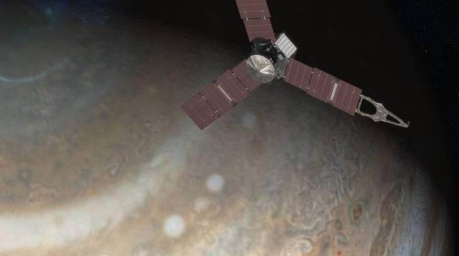 Juno entra nell'atmosfera di Giove in un disegno